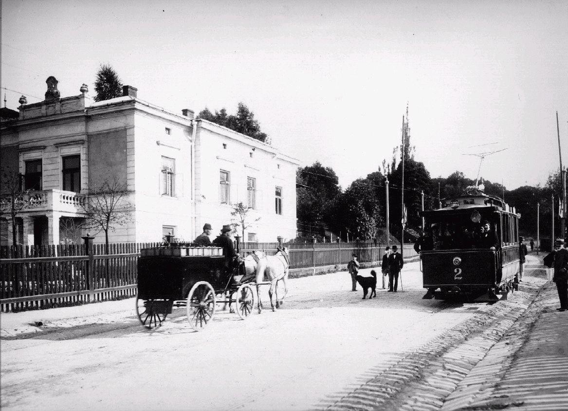 Перший електричний трамвай на вул. Святої Софії, біля Стрийського парку, 1894р. (вул.І.Франка)