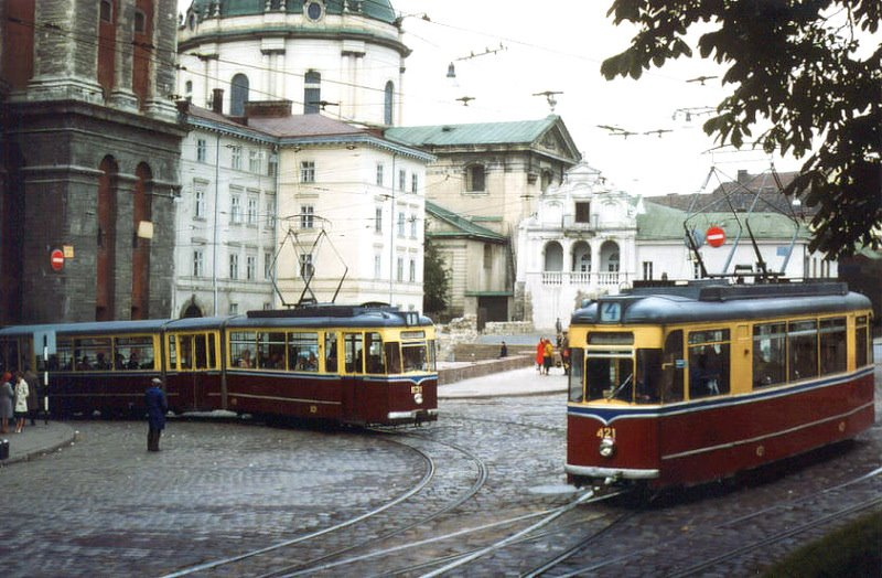 Трамвай на вул Підвальна у 1978 р. © Ханс Олерманс