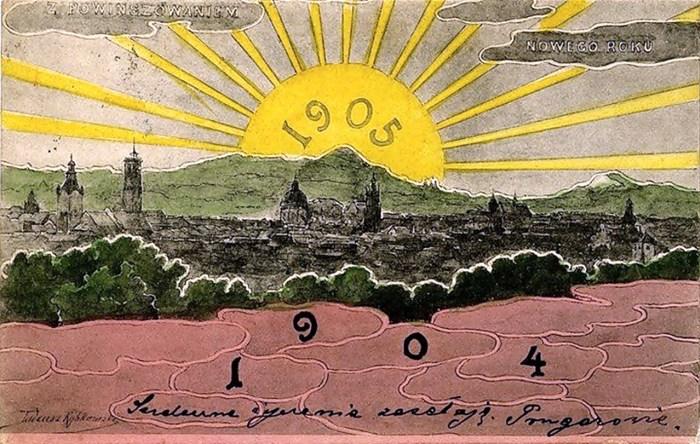 Тадеуш Рибковський. Новорічна поштівка із зображенням панорами Львова