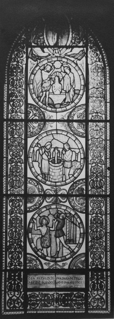 Вітраж зі сценами з життя Св. Івана Хрестителя, фото Л.Вележинського, 1930 р.