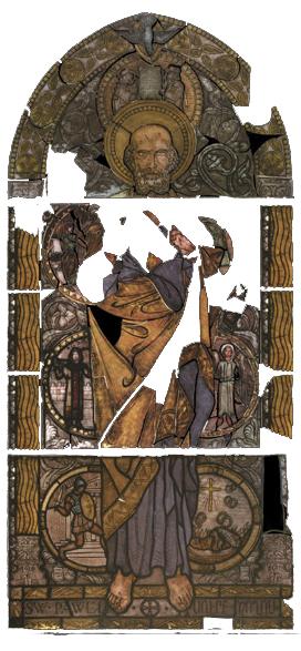 Вітраж Св. Павло перед реставрацією, фот. А.Мацєй