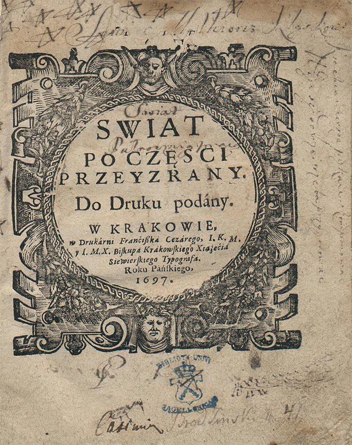 Титульна сторінка книги Д. Братковського «Світ по частинах розглянутий». Бібліотека Яґеллонського університету
