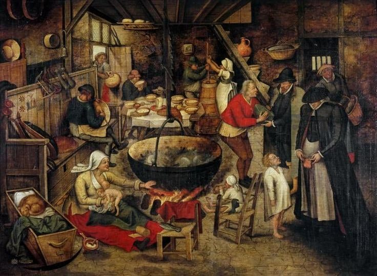 Хатнє начиння на картині Пітера Брейгеля Молодшого «Відвідини сільської господи», 1611 р.