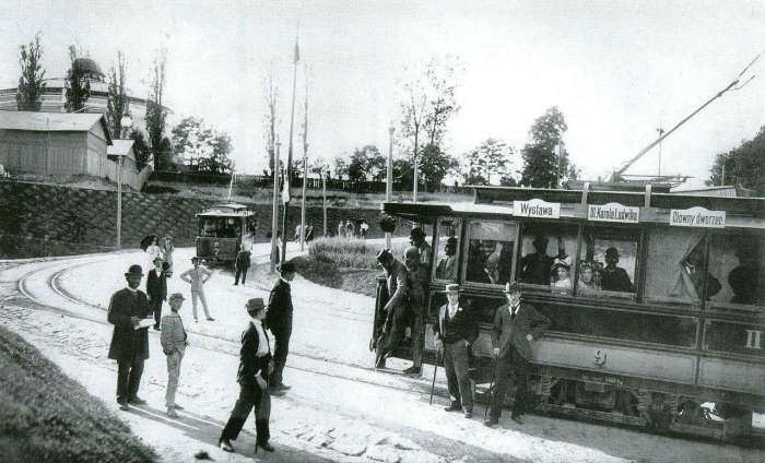 Кінцева трамвайної лінії Вокзал-Виставка. Фото 1894 року