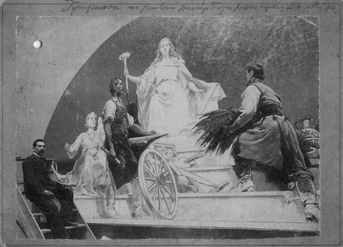 Художник Тадеуш Попель під час роботи над тимпаном одного з павільйонів виставки. Фото до 1894 року